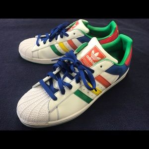 Adidas Superstar II Orig White Multi Color Stripe